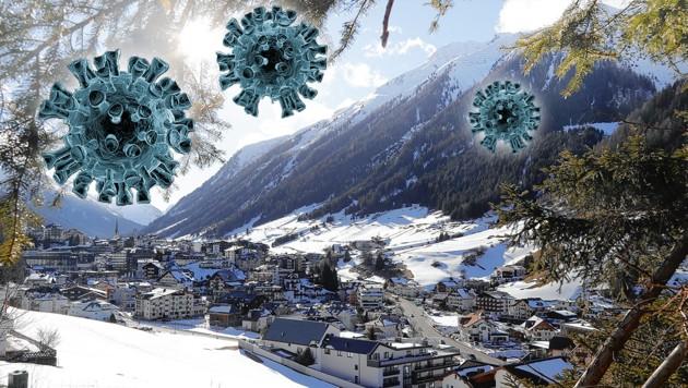 Im April des Vorjahres wurde das gesamte Tiroler Paznauntal unter Quarantäne gestellt. (Archivbild) (Bild: Christof Birbaumer/Kronen Zeitung, stock.adobe.com, krone.at-Grafik)