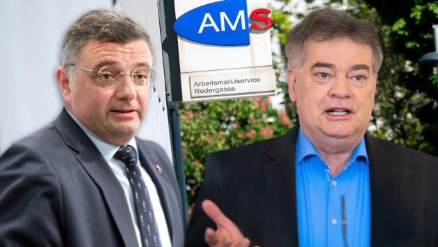 Jörg Leichtfried (SPÖ) und Werner Kogler (Grüne) haben derzeit deutlich unterschiedliche Ansichten, wie das Arbeitslosengeld geregelt werden soll.