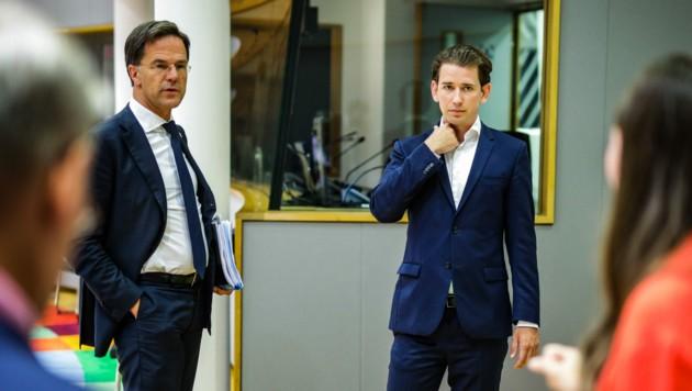 Bundeskanzler Sebastian Kurz und der niederländische Ministerpräsident Mark Rutte