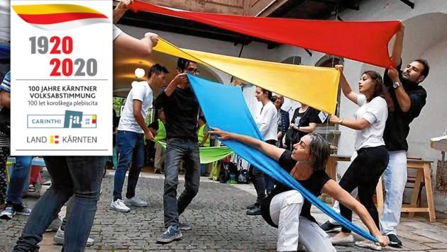 """Grenzerfahrung: Das Tanztheater """"einAnder"""" ruft ab morgen in fünf Gemeinden zum Mitmachen auf. (Bild: inAnder, krone.at-Grafik Land Kärnten)"""