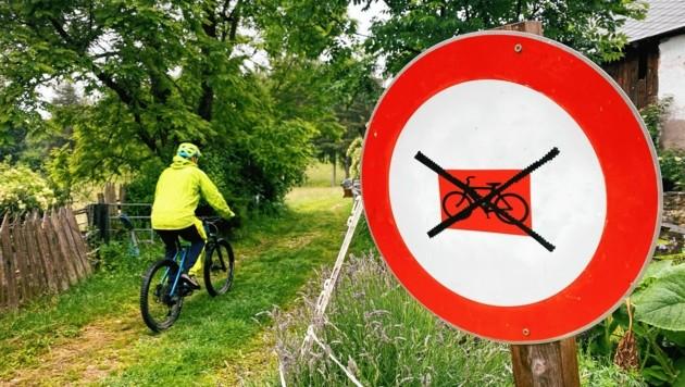 Zahlreiche Verbotstafeln für Radfahrer hat Landwirt Hans Lassernig auf dem Oswaldiberg aufgestellt, die dennoch immer wieder ignoriert werden.