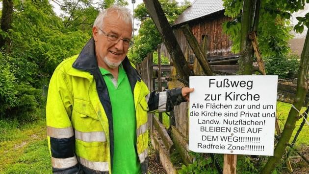 Hans Lassernig ärgert sich über Mountainbiker, die sein Radfahrerverbot missachten und immer wieder illegal neue Trails in den Wäldern errichten.