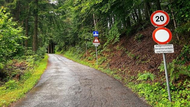 Der Weg auf den Oswaldiberg bis zum Grundstück von Hans Lassernig ist eine offizielle Radstrecke