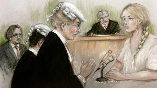 Amber Heard und Johnny Depp auf einer Gerichtszeichnung. Am Montag wurde die Schauspielerin erstmals zu den Vorwürfen gegen ihren Ex-Ehemann in London befragt. (Bild: AP)