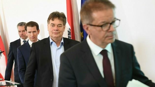 Innenminister Karl Nehammer, Bundeskanzler Sebastian Kurz, Vizekanzler Werner Kogler und Gesundheitsminister Rudolf Anschober
