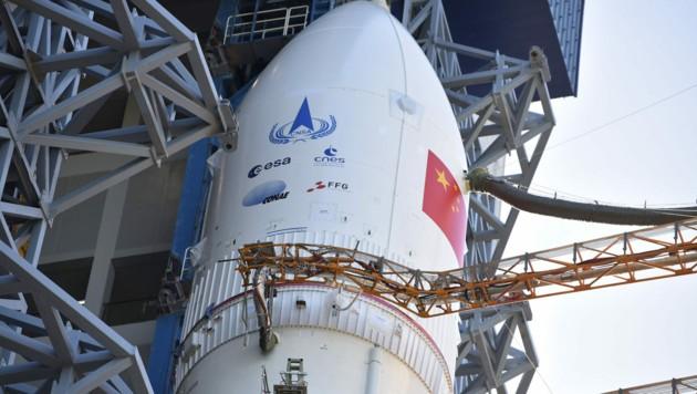 """Die Rakete """"Langer Marsch 5""""soll die Raumsonde """"Tianwen-1"""" auf den Weg zum Mars bringen."""