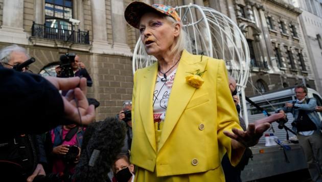 Vivienne Westwood fordert in London die Freilassung von Julian Assange. (Bild: APA/Photo by Niklas HALLE'N / AFP)