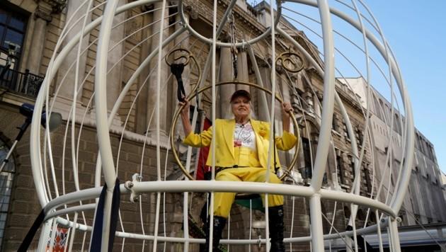Designerin Vivienne Westwood sitzt wie ein Kanarienvogel im Käfig. (Bild: APA/Photo by Niklas HALLE'N / AFP)