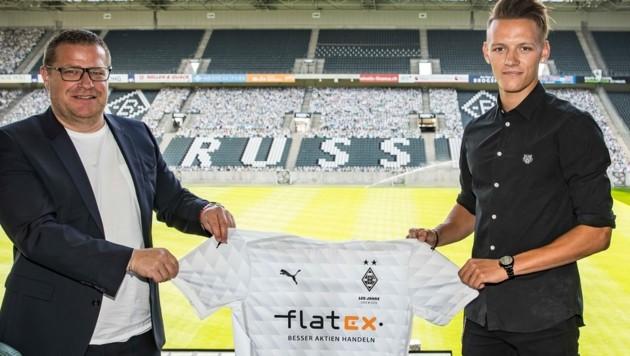 Gladbach-Manager Max Eberl und Hannes Wolf (Bild: Twitter.com/Borussia Mönchengladbach)