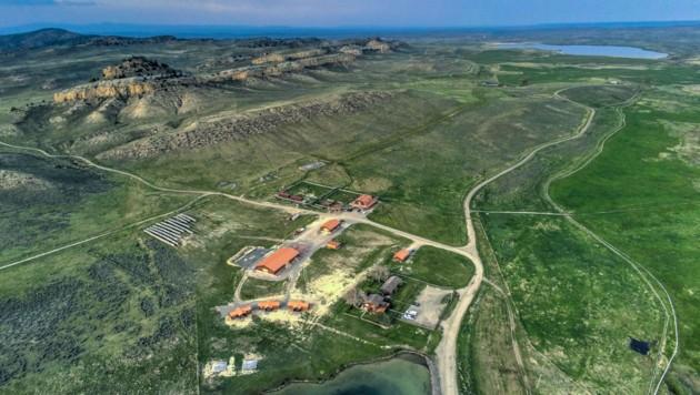 Luftaufnahme von Kim Kardashians und Kanye Wests Ranch in Wyoming