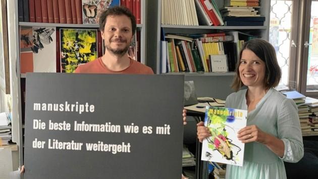 """Andreas Unterweger und Silvana Cimenti im Büro der """"manuskripte"""" in der Grazer Sackstraße (Bild: Christoph Hartner)"""