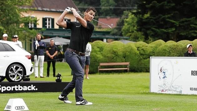 Golfball statt Puck bei den 99ers-Cracks um Dani Oberkofler. (Bild: GEPA pictures)