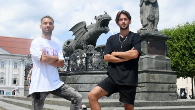 Coole Jungs. Aydin (li.) und Von Haacke bilden Austrias erfolgreiche Deutschland-Connection in der Lindwurmstadt. Aydin (Bild: F. Pessentheiner)