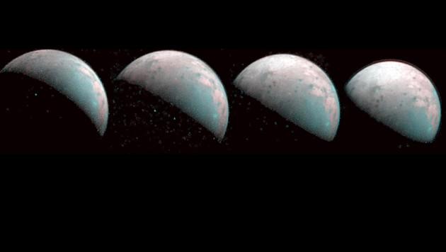 Infrarot-Aufnahmen vom Nordpol des Jupitermondes Ganymed (Bild: NASA/JPL)