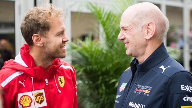Sebastian Vettel (li.) und Adrian Newey