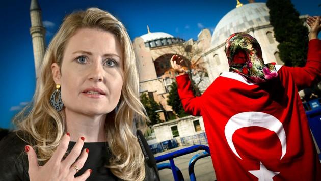 """""""Der Einfluss des politischen Islam aus Ländern wie der Türkei erstreckt sich bis nach Österreich"""" - Susanne Raab, Integrationsministerin (ÖVP) (Bild: APA/HERBERT NEUBAUER, AP, krone.at-Grafik)"""