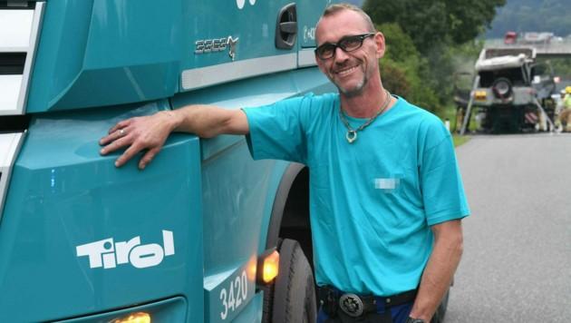 Sein Beruf ist seine Leidenschaft: Seit 20 Jahren ist Florian Mair Lkw- Fahrer, die Erfahrung habe ihm geholfen, als es plötzlich brannte.