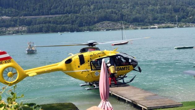 Im Zuge des Rettungseinsatzes kam es zu einer Hubschrauberlandung auf einem Badesteg.