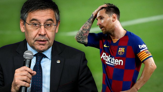 Lionel Messi und Ex-Barcelona-Präsident Josep Maria Bartomeu (li.) (Bild: AP, APA/AFP/LLUIS GENE, krone.at-Grafik)