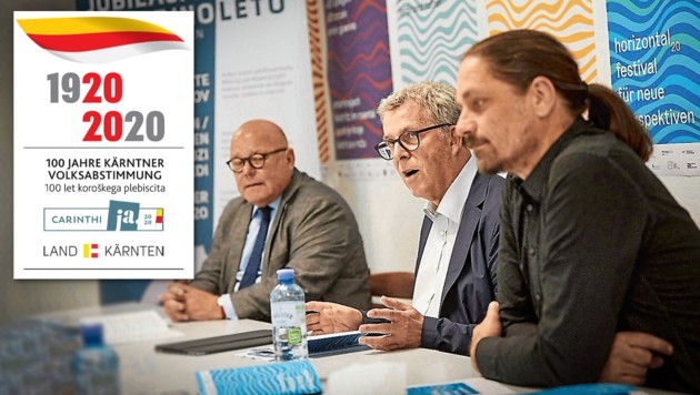 """Igor Pucker, Leiter der Abteilung Kunst und Kultur im Land Kärnten, Reinhard Hohenwarter, Ferdinand Hafner (""""horizontal20"""") (Bild: Puch Johannes, krone.at-Grafik)"""