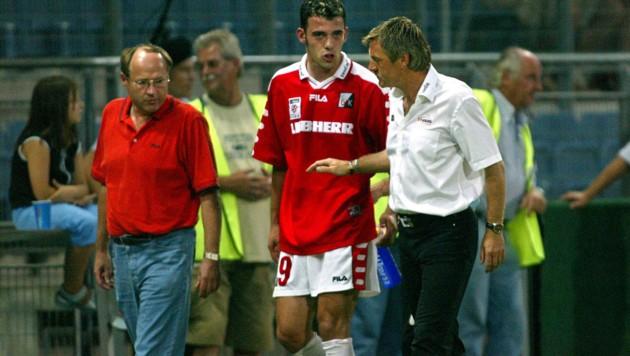 Der junge Ilco Naumoski mit GAK-Trainer Walter Schachner