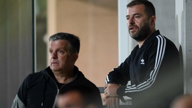 Hatten in Amstetten wenig zu lachen: Sportchef Matthias Imhof und Boss Zeljko Karajica (Bild: F. Pessentheiner)