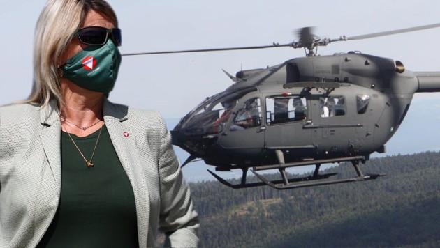 Klaudia Tanner und der H145 von Airbus, der ebenfalls ein Mitbewerber um den Auftrag ist.