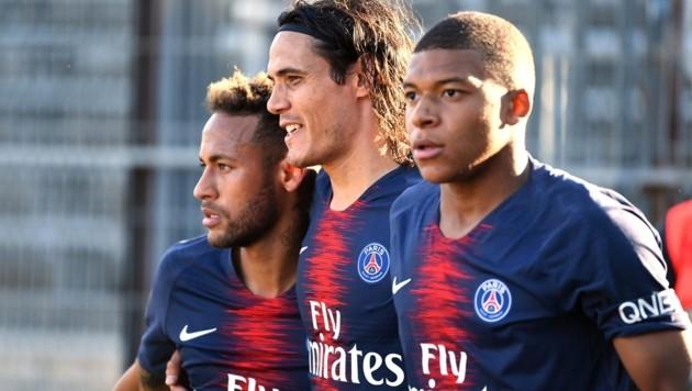 Cavani (Mitte) neben Neymar (li.) und Mbappe (re.) (Bild: AFP )