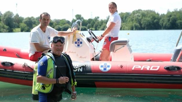 Taucher Werner Schieder mit Kollegen Sandra und Johann Himmelbauer (Bild: Einöder Horst)