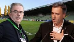 """Martin Pucher (links) und seine Commerzialbank Mattersburg bereiteten Sturm-Graz-Boss Christian Jauk schon seit Längerem ein schlechtes """"Bauchgefühl""""... (Bild: GEPA, krone.at-Grafik)"""