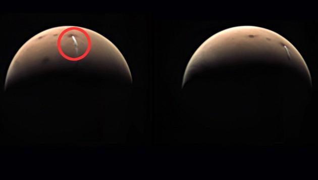 """Zwei Aufnahmen der Wolke, die die Sonde """"Mars Express"""" zur Erde gefunkt hat. (Bild: ESA)"""