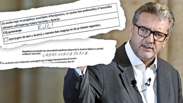 """Gesundheitsstadtrat Peter Hacker von der SPÖ ärgert sich über die """"Kas-Zettel"""": fehlerhafte Adressen, keine Nachnamen und fantasievolle Reiseziele. (Bild: zVg, Kronen Zeitung, APA/HERBERT NEUBAUER, Krone KREATIV)"""