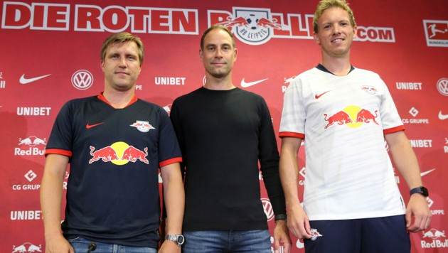 Markus Krösche, Oliver Mintzlaff und Julian Nagelsmann (Bild: GEPA pictures)