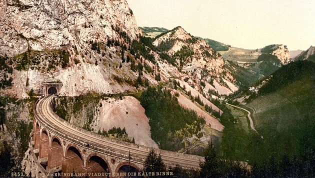 Semmeringbahn um 1900 (Bild: wikipedia.org (gemeinfrei))