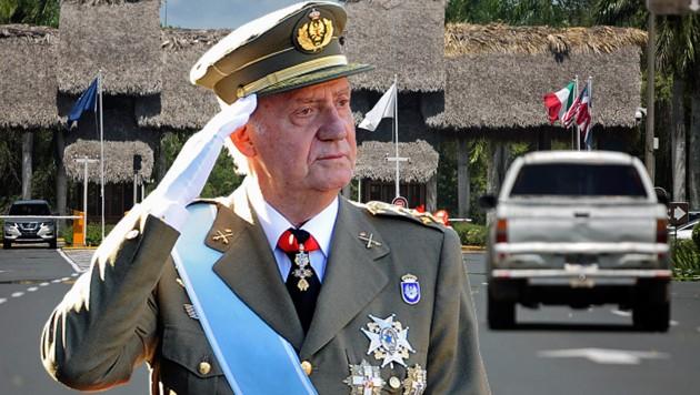 Laut spanischen Medien soll sich Ex-König Juan Carlos in diesem Resort in der Dominikanischen Republik befinden. Die Behörden des Karibikstaates wissen aber nichts darüber. (Bild: APA/AFP/DANI POZO, APA/AFP/Erika SANTELICES, krone.at-Grafik)