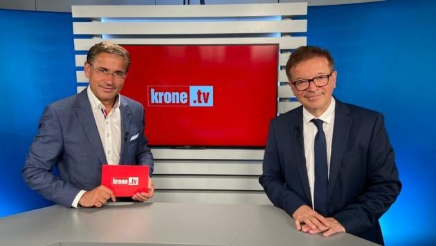 Gesundheitsminister Rudolf Anschober im Talk mit Gerhard Koller (Bild: krone.tv)