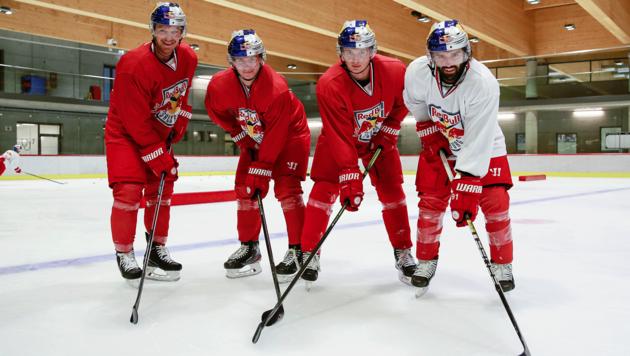Die Eisbullen (von links: Johnny Hughes, Tim Harnisch, Marcel Zitz und Dominique Heinrich) absolvierten heute ihr erstes Teamtraining. (Bild: EC Red Bull Salzburg)