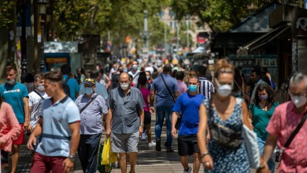 Die Las Ramblas in Barcelona - beliebter Hotspot bei Touristen. (Bild: AP)