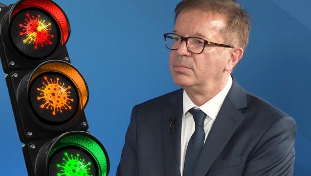 Gesundheitsminister Rudolf Anschober (Bild: krone.tv, stock.adobe.com, Krone KREATIV)