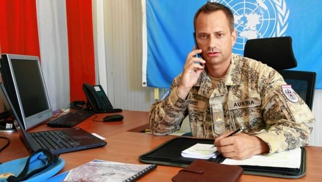 """Major Andreas Obrist hörte einen """"dumpfen Knall aus 120 Kilometern Entfernung""""."""
