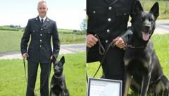 """Peter Lloyd und Polizeihund """"Max"""" (Bild: Dyfed Powys Police)"""