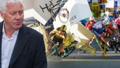 Patrick Lefevere, der Manager des Rennstalls Deceuninck-Quick-Step, betet für seinen verunfallten Schützling Fabio Jakobsen. (Bild: AP, krone.at-grafik)