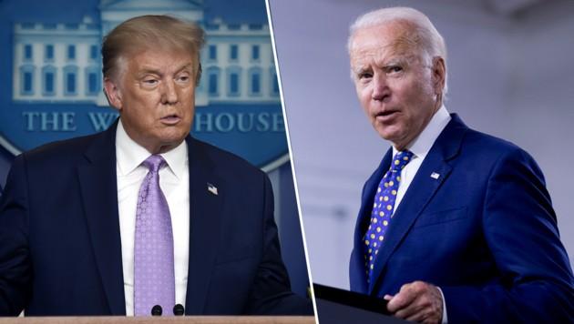 Donald Trump und sein Herausforderer Joe Biden (Bild: AFP, AP, Krone KREATIV)