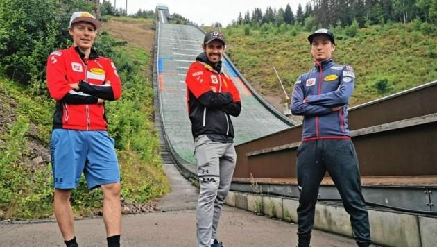 Die steirischen Kombinierer Franz Josef Rehrl, Lukas Klapfer und Martin Fritz (v. li.) liefern sich beim Trainingslager in Norwegen interne Wettkämpfe.