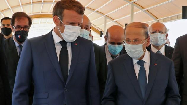 Am Donnerstag traf der französische Präsident Emmanuel Macron in Beirut mit seinem libanesischen Amtskollegen Michel Aoun zusammen.