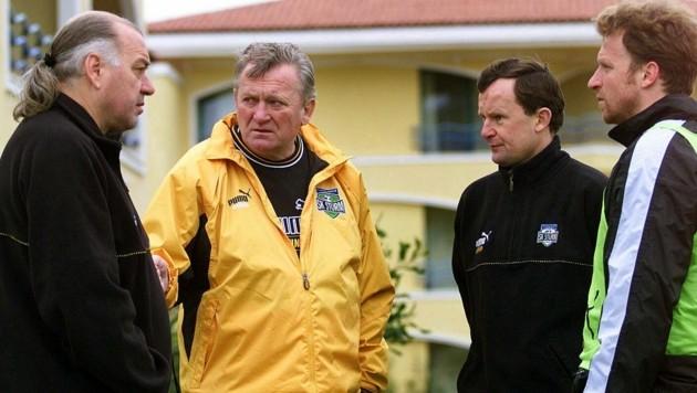 Manager Heinz Schilcher, Trainer Ivica Osim, Masseur Gerhard Wallner, Co-Trainer Rupert Marko (Bild: GEPA pictures)