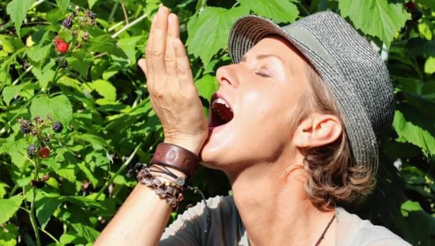 Angelika Ertl genießt die gesunden Köstlichkeiten aus dem Garten (Bild: Christian Jauschowetz)