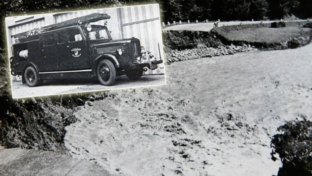 Am 13. August 1959 machten die Fluten des Fritzbaches auch nicht vor der Katschberg-Straße halt. Die Bischofshofener Floriani rückten mit einem Nachkriegsfahrzeug aus. (Bild: Repro: GERHARD SCHIEL)