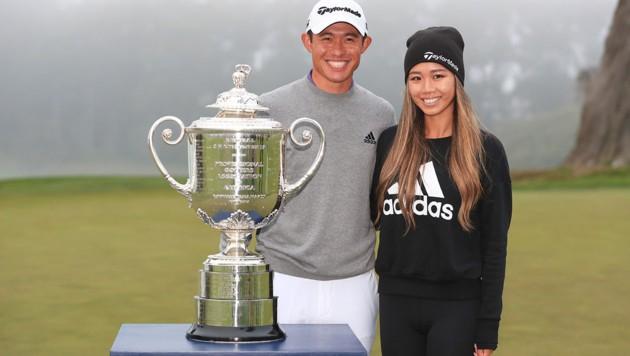 Collin Morikawa mit seiner Freundin Katherine Zhu (Bild: APA/Getty Images via AFP/GETTY IMAGES/TOM PENNINGTON)