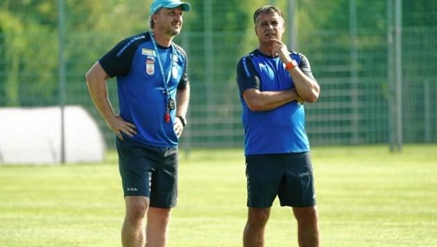 Trainer Schopp und Co Russ freuen sich auf den Europacup. (Bild: Sepp Pail)